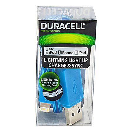 Duracell® Light Up Lightning Cable, 3', Blue, LE2242