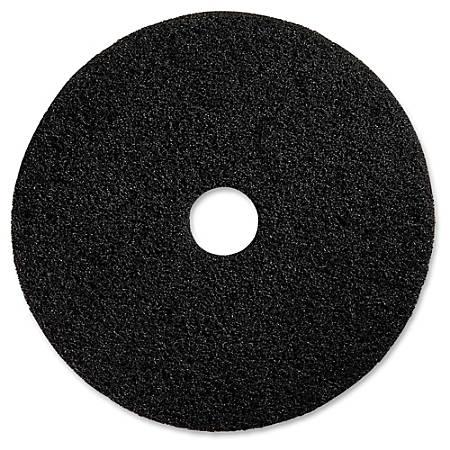 "Genuine Joe Black Floor Stripping Pad - 19"" Diameter - 5/Carton x 19"" Diameter x 1"" Thickness - Fiber - Black"