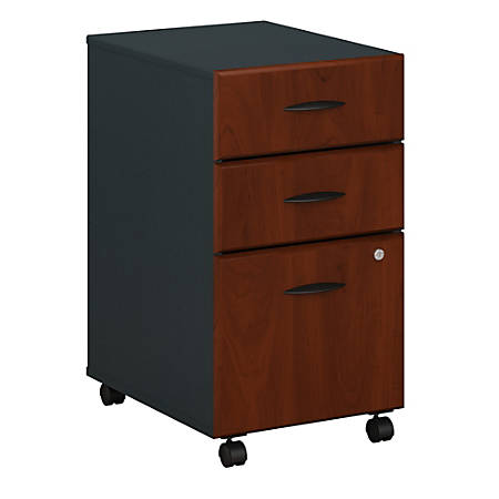 Bush Business Furniture Office Advantage 3 Drawer Mobile File Cabinet, Hansen Cherry/Galaxy, Premium Installation