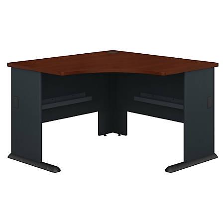 """Bush Business Furniture Office Advantage Corner Desk 48""""W, Hansen Cherry/Galaxy, Premium Installation"""