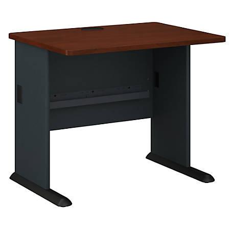 """Bush Business Furniture Office Advantage Desk 36""""W, Hansen Cherry/Galaxy, Premium Installation"""