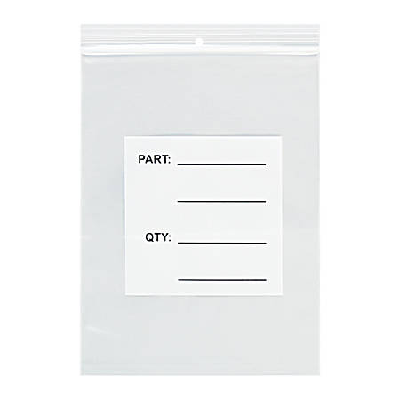 "Office Depot® Brand Parts Bags With Hang Holes, 12"" x 15"", Clear/White, Case Of 500"