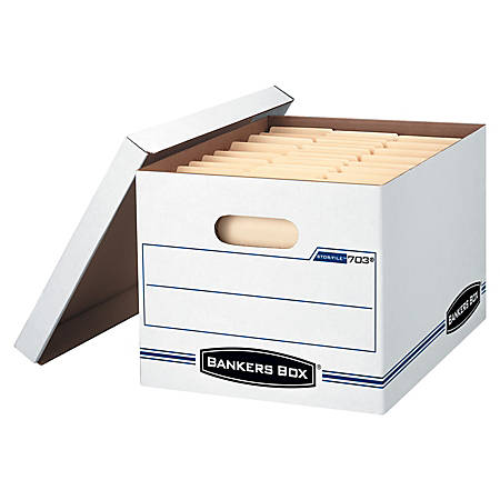 """Bankers Box Stor/File - Letter/Legal, Lift-Off Lid 4pk - Internal Dimensions: 12"""" Width x 15"""" Depth x 10"""" Height - External Dimensions: 12.5"""" Width x 16.3"""" Depth x 10.5"""" Height - 450 lb - Media Size Supported: Letter"""
