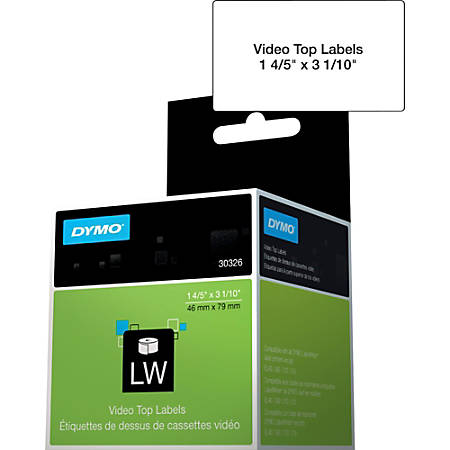 """DYMO® LabelWriter Video Spine Labels, DYM30326, 1 4/5""""W x 3 1/10""""L, Rectangle, Direct Thermal, White, Roll Of 150"""
