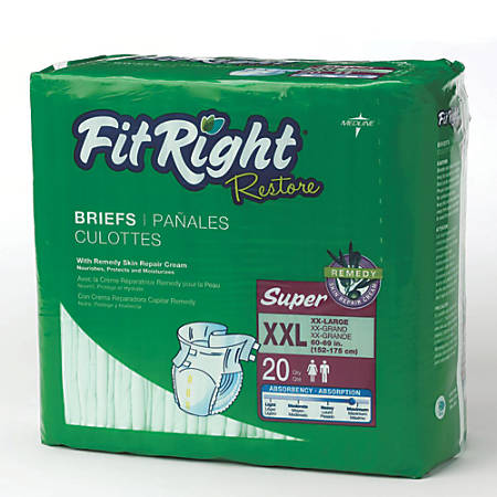 FitRight Restore Briefs, XX-Large, Green, Bag Of 20