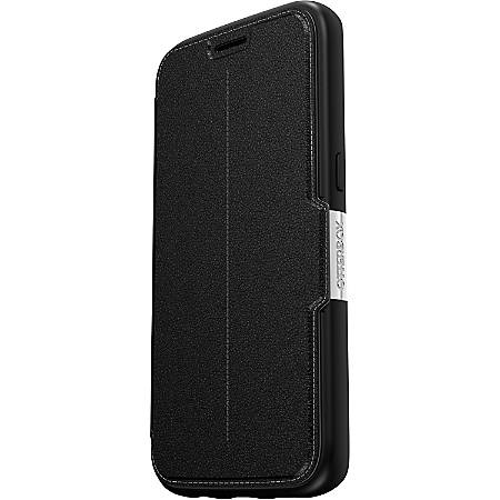 OtterBox Strada Carrying Case (Folio) Smartphone - Onyx Black - Drop Resistant, Bump Resistant, Scrape Resistant, Scuff Resistant, Scratch Resistant - Polycarbonate Shell, Leather, Metal Latch