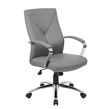 Boss Faux Leather High-Back Chair, Gray/Chrome/Gray