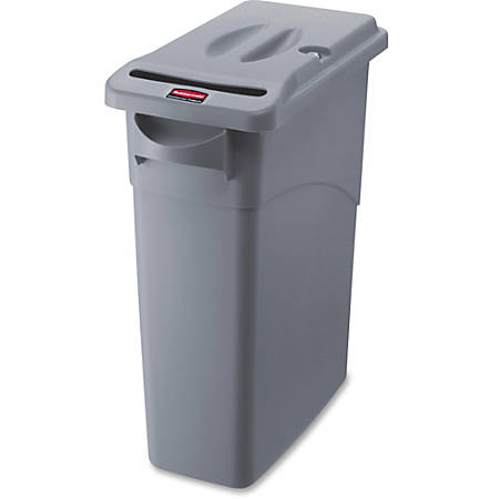 "Rubbermaid Commercial Slim Jim 16-gallon Document Container - External Dimensions: 11"" Width x 23.1"" Depth x 25"" Height - 15.88 gal - Lid Lock Closure - Gray - For Document - 1 Each"