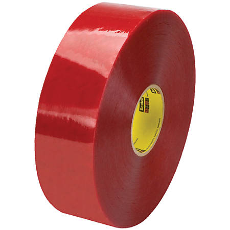 "3M™ 3779 Pre-Printed Carton Sealing Tape, 3"" Core, 3"" x 1,000 Yd., Clear/Red, Case Of 4"