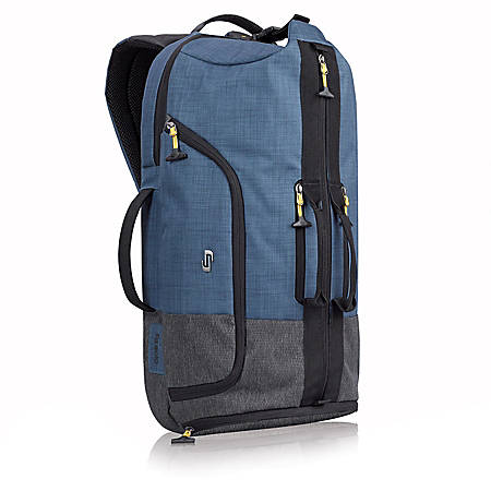 "Solo Weekender Backpack Duffel For 17.3"" Laptops, Blue/Gray/Yellow"
