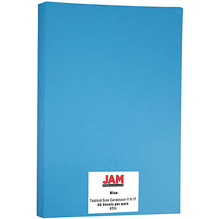 """JAM Paper® Cover Card Stock, 11"""" x 17"""", 65 Lb, 30% Recycled, Blue, Pack Of 50 Sheets"""