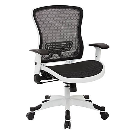Space Seating Office Star 525 Series Breathable Mesh-Back Manager's Chair, Black/White