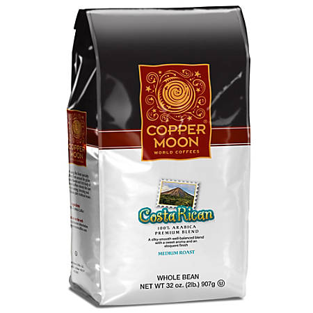 Copper Moon Coffee Whole Bean Coffee, Costa Rican, 2 Lb Per Bag, Case Of 4 Bags