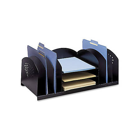 "Safco Combination Rack Desktop Organizer - 9 Compartment(s) - 8.3"" Height x 22.3"" Width x 11.3"" Depth - Desktop - Black - Steel - 1Each"
