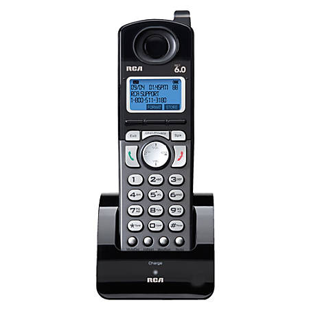 RCA 25055RE1 DECT 6.0 Digital 2-Line Cordless Accessory Handset, Black/Silver
