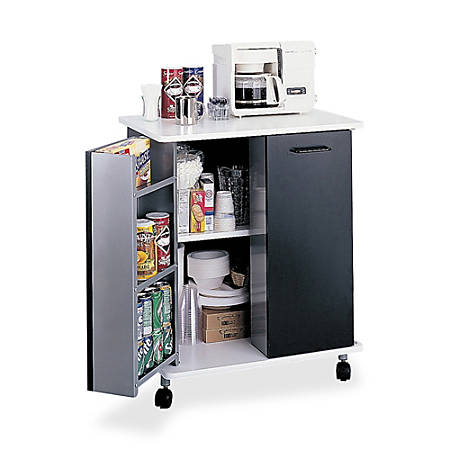 "Safco Mobile Refreshment Stand, 33""H x 29 1/2""W x 22 3/4""D, Black"
