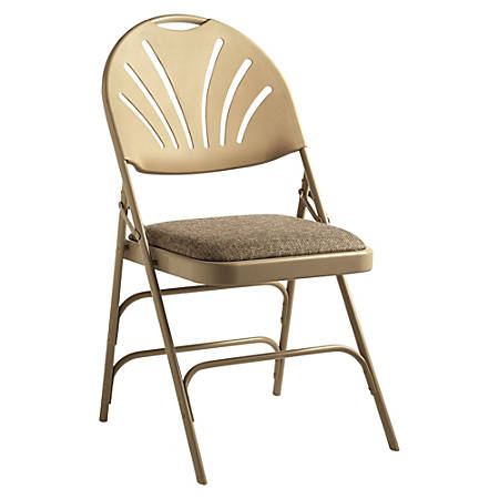 Samsonite® XL Fanback Folding Chairs, Fabric, Neutral/Neutral, Set Of 4