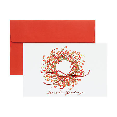 """Great Papers! Print-Your-Own Greeting Cards, 8 1/2"""" x 5 1/2"""", Season's Greetings Wreath, Pack Of 18"""
