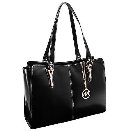"""McKleinUSA® M Series GLENNA Leather Shoulder Tote With 9"""" x 10"""" Tablet Compartment, 16 3/4""""H x 5""""W x 12""""D, Black"""