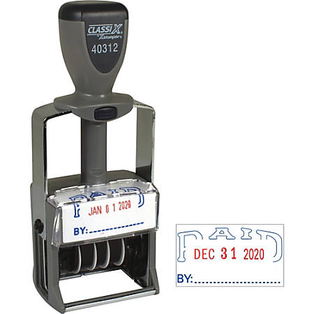 """Xstamper Heavy-duty PAID Self-Inking Dater - Message/Date Stamp - """"PAID"""" - Blue, Red - Metal, Plastic Handle - 1 Each"""