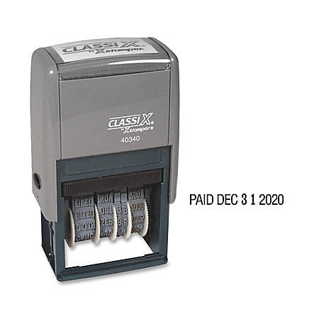 """Xstamper Self-Inking Micro Message Dater - Message/Date Stamp - """"REC'D, ENT'D, ANS'D, PAID, SHIPPED, CHARGED, CANCELLED"""" - 0.94"""" Impression Width x 1.75"""" Impression Length - Black - Plastic - 1 Each"""