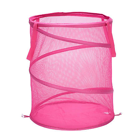 "Honey-Can-Do Breathable Mesh Pop-Up Hamper, 23 5/8"", Pink"
