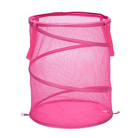 "Honey-Can-Do Breathable Mesh Pop-Up Hamper, 23 5/8"", Pink"