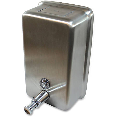 Genuine Joe Stainless Vertical Soap Dispenser - Manual - 1.25 quart Capacity - Stainless Steel - 1Each