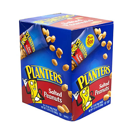 Planters Nut Pouches, Salted Peanuts, 1.75 Oz, Box Of 18