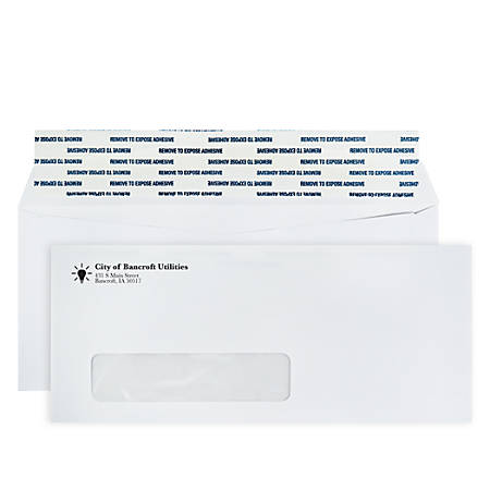"Custom 1-Color, Single Window Peel & Seal Business Envelopes, #10, (4 1/8"" x 9 1/2""), White Wove, Box Of 500"