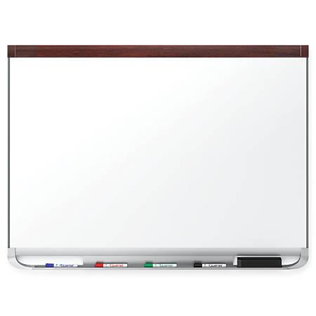 "Quartet® Prestige® 2 DuraMax® Porcelain Magnetic Whiteboard, Mahogany Frame, 72"" x 48"""