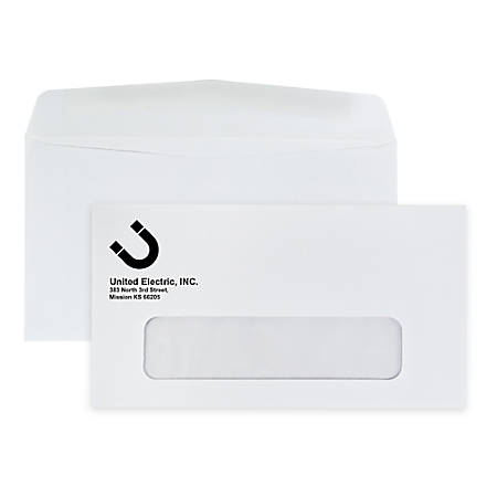 "Custom #6-3/4, 1-Color, Single Window Business Envelopes, 3-5/8"" x 6-1/2"", White Wove, Box of 500"
