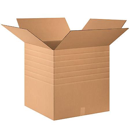 "Office Depot® Brand Heavy-Duty Multi-Depth Corrugated Cartons, 20"" x 20"" x 20"", Scored 18"", 16"", 14"", Kraft, Pack Of 10"