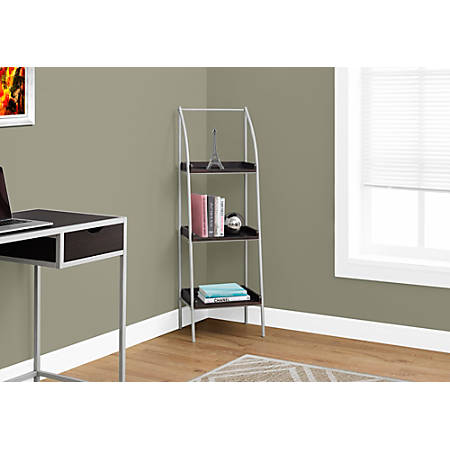 Monarch Specialties 3-Shelf Backless Metal Bookcase, Cappuccino/Silver
