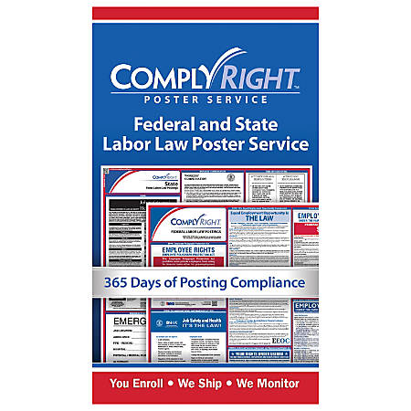 "ComplyRight™ Federal And State Poster Service Card, English, 7"" x 4"""