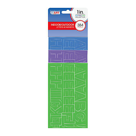 """Creative Start® Self-Adhesive Characters, Letters And Numbers, 1"""", Helvetica, Assorted Colors, Pack Of 384"""
