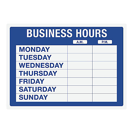 "Cosco® Static Cling ""Business Hours"" Sign Kit, 10"" x 14"", Blue"
