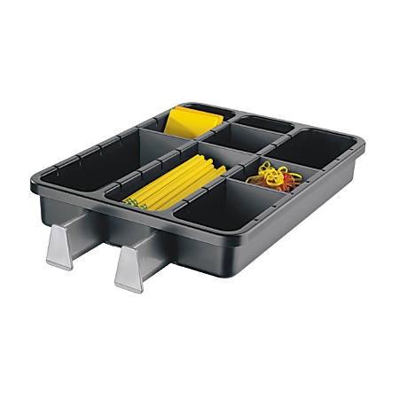 Office Depot® Brand 9-Compartment Drawer Organizer With Extending Arms, Black/Gray