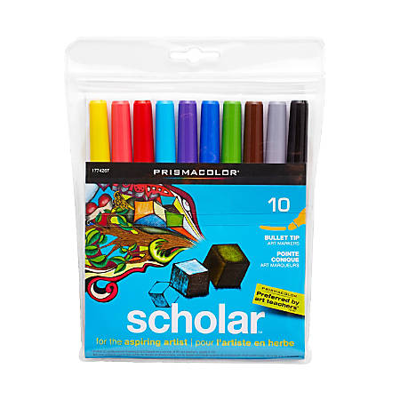Prismacolor® Scholar™ Art Markers, Bullet Tip, Assorted Ink Colors, Pack Of 10