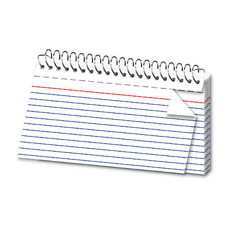 "Office Depot® Brand Spiral Ruled Index Cards, 3"" x 5"", White, Pack Of 50"