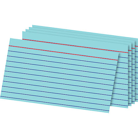 "Office Depot® Brand Ruled Index Cards, 3"" x 5"", Blue, Pack Of 100"