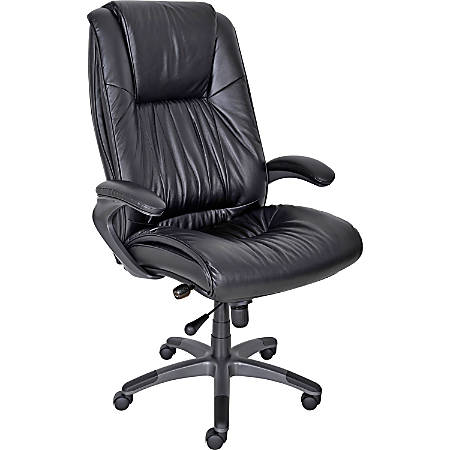 """Mayline® Ultimo Series Deluxe Leather High-Back Chair, 48""""-51""""H x 31""""W x 32""""D, Black"""