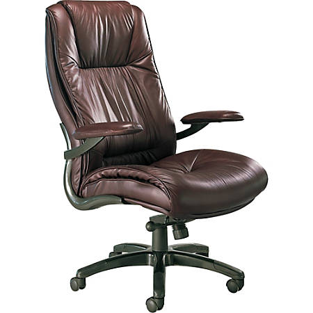 "Mayline® Ultimo Series Deluxe Leather High-Back Chair, 48""-51""H x 31""W x 32""D, Burgundy/Black"