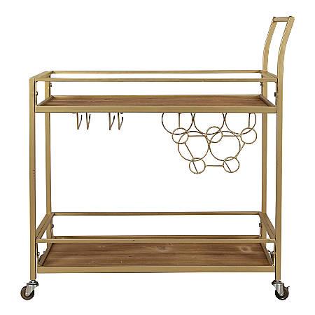 """FirsTime & Co. Francesca Bar Cart, 32-1/4""""H x 30""""W x 13""""D, Gold"""