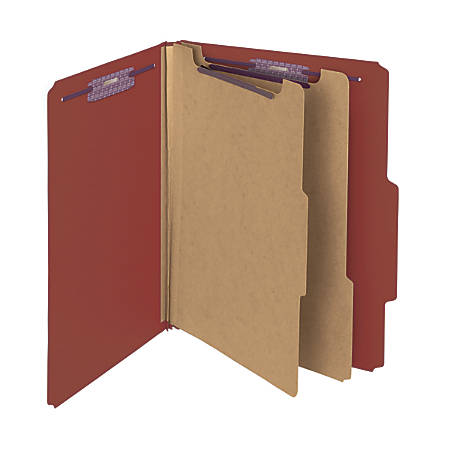 "Smead® Pressboard Classification Folders, 2 Dividers, 2"" Expansion, 2/5 Cut, Letter Size, 100% Recycled, Red, Pack Of 10"