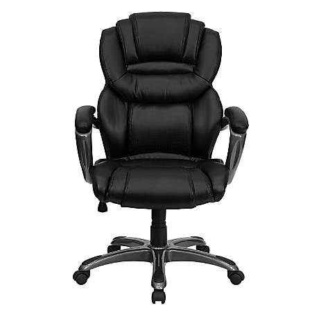 Flash Furniture Leather High-Back Chair, Black/Titanium