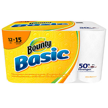 """Bounty® Basic 1-Ply Paper Towels, 10 3/16"""" x 10 1/5"""", White, 55 Sheets Per Roll, 12 Rolls"""