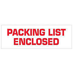 Tape Logic Packing List Enclosed Preprinted