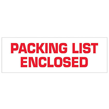 """Tape Logic® Packing List Enclosed Preprinted Carton Sealing Tape, 3"""" Core, 2"""" x 110 Yd., Red/White, Case Of 18"""