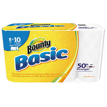 """Bounty® Basic Select-A-Sheet 1-Ply Paper Towels, 11"""" x 5 9/10"""", White, 89 Sheets Per Roll, 8 Rolls"""